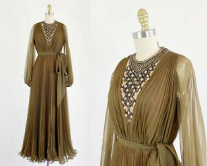 Jack Bryan Gown - Brown Chiffon Gown - 1960s Jack Bryan Gown - Size Small