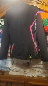 Kids Girls SYPDER Winter Ski Jacket, Black with Colorful Design, Size 18 USA