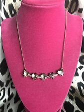 Betsey Johnson Pinkalicious Pink Crystal Heart Row Paved Jewel Gold Necklace