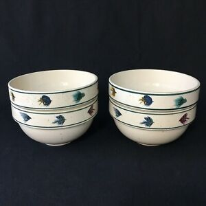 Set of 4 Folkcraft Stoneware Rainbow Trout by Scottie Z Cereal/Soup Bowls