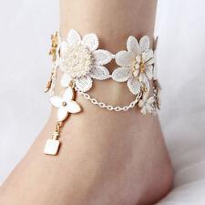 Foot Sandal Lace Peals Ankle Bracelets 1pc White Four-leaf Clover Crochet Anklet