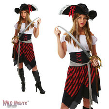 FANCY DRESS COSTUME ~ LADIES ADULT PIRATE LADY BLACK & RED SIZES 8-18