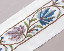 2 Yards. Wide, Hand Embroidered, Crewel Trim. Wool Embroidery on Cotton Duck.