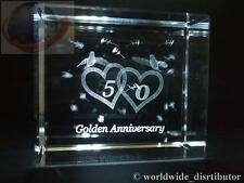 LASER CRYSTAL PAPERWEIGHT WEDDING 50th GOLDEN ANNIVERSARY 3694 PRESENTATION BOXE