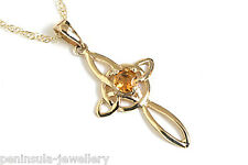 """9ct Gold Citrine Celtic Cross Pendant and 18"""" Chain Made in UK Gift Boxed"""