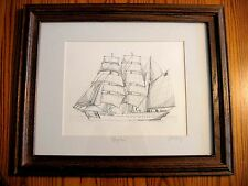 US COAST GUARD BARQUE EAGLE Framed Pen and Ink portrait- Hand Signed by Artist!