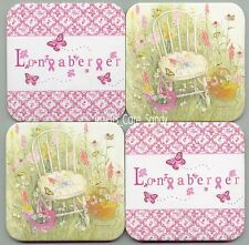 Free Ship 4 Longaberger Pink Ribbon Butterflies Chair Flowers Baskets Coasters
