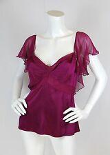Diane von Furstenberg Sz 10 Blouse Top Mian Fuschia Silk Chiffon Flutter Sleeve