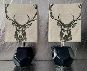 Pair Of Stag Bedside/Table Lamps/Handmade Stag Shades/blue Geometric Bases