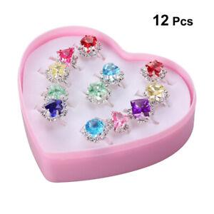12pcs Kinder Süß Ringe Bunter Diamante Geschenk Kinderschmuck Mädchen Ring