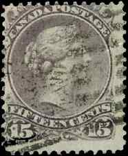 Canada #29i used F 1868 Queen Victoria 15c purple shade Large Queen CV$25.00