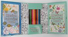 2 Colouring Books + 10 Pencils TRAVEL SET kids therapy anti stress A5 gift adult