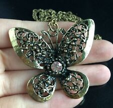 Beautiful Rhinestone Butterfly Long Sweater Fashion Pendants Necklace For Women