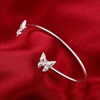 6 Types Fashion 925Sterling Silver Solid Silver Flowers Cuff Bangle Bracelet