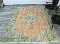 Medallion Design Anatolian Carpet Vintage Hand Knotted Turkish Area Rug 7x10 ft.