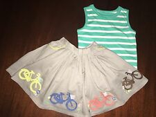 NEW 3/4 Mini Boden Outfit Bicycle Decorative Skirt & NWT Green Striped Tank