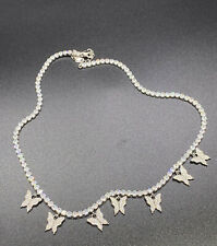 """.925 Sterling Silver Dangling Butterfly Tennis Chain 16"""" Length"""