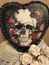 Skull & Rose Gothic Hanging Plaque Vintage
