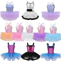 Girls Ballet Dance Dress Kids Shiny Sequins Leotard Tutu Skirt Dancewear Costume