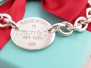 """Authentic Tiffany & Co Silver 925 Oval Please Return To Bracelet 8"""" Box"""