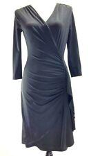 VENUS Black Wrap Dress Side Ruching 3/4 Sleeves, Size X-Small