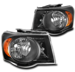 For 07 08 09 Chrysler Aspen Factory Style Headlights Headlamps Lamps Black LH+RH
