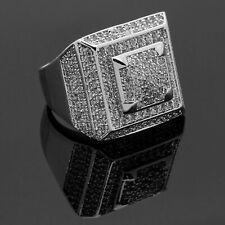 Natural Cubic Zircon Gemstone 925 Sterling Silver Statement Ring Men's ES-270