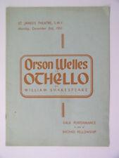 Rare 1951 Othello Program St. James Theatre London ORSON WELLES Peter Finch
