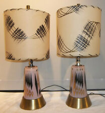 New listing Vintage Pr.Mid-Century Table Lamps Pink Glass Light Up Bases Fiberglass Shades