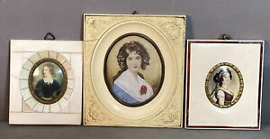 Lot (3) Antique MINIATURE Old ANTEBELLUM Style LADY PORTRAIT PAINTING Old FRAME