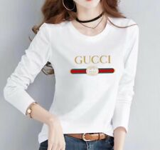 Women  crew neck loose casual T-shirt solid long sleeve tops white