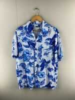 George Mens Blue Vintage Short Sleeve Hawaiian Casual Button Up Shirt Size Large