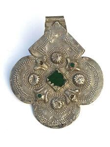 Antique Islamic Persian Ottoman Silver Pendant Emerald Glass - Lot 1