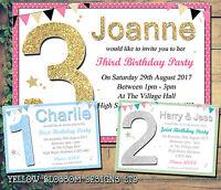 Personalised 1st 2nd Birthday Party Invitations Polkadot Printed Children Invite