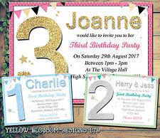 Personalizzata 1st 2nd festa di compleanno Inviti Polkadot Stampato Bambini invitare