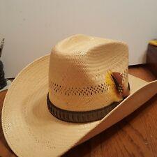 VINTAGE John B. Stetson Roadrunner Cowboy Hat Woven Straw Bryantcote SZ 7 1/8