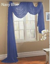 2 NAVY BLUE SCARF SHEER VOILE WINDOW TREATMENT CURTAIN DRAPES VALANCE