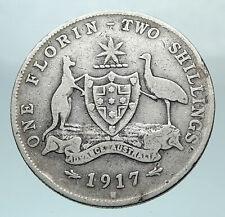 1917 AUSTRALIA - UK King George V Kangaroo Silver Florin Australian Coin i81052