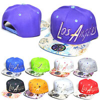 Los Angeles Embroidered Flower Flat Snapback Cap Hiphop Baseball Hats AYO1068