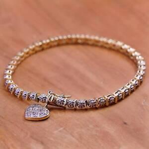 "7.25"", vermeil gold Sterling 925 silver tennis bracelet, heart charm diamonds"
