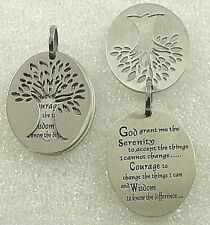 Serenity Prayer Tree of Life Necklace Stainless Steel Pendant Silver Inspiration