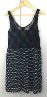 Valley Girl Womens Dress Size 12 Lace Black White Polka Dots Spots Casual