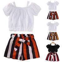 Kleinkind Mädchen Kinder Kleidung T-shirt Tops Gestreift Shorts Outfit Sommer