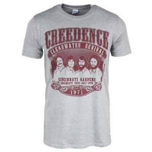 Mens Retro Creedence Clearwater Revival 1971 Rock Grey CCR Band Shirt NEW