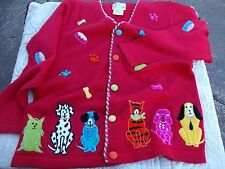 Quacker Factory Red Dogs and Cats Cardigan Sweater Embroidered Women's Size Sm