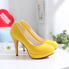 Women High Heels Slip On Wedding Stiletto Pumps Party Platform 4 Colors Shoes Sz