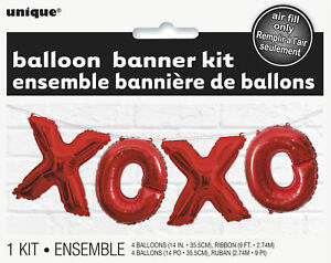 Red XOXO Hugs & Kisses Balloon Bunting Banner Large Decoration NO Helium needed