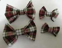 Adjustable Dog Bow Ties~ Multicolored Tartan Plaid  ~ S, M, L, XL