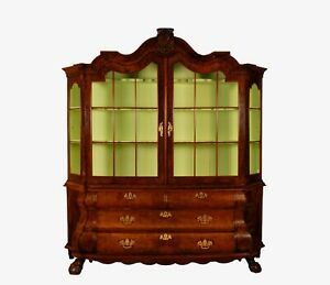 18th c Queen Anne Rococo China Display cabinet vitrine burr walnut secret drawer