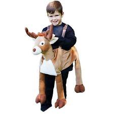 Kids Boys Girls Ride on Reindeer Stag Animal Step in Fancy Dress Costume Xmas